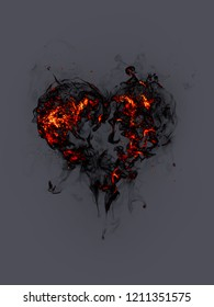 Fire heart isolated on gray background