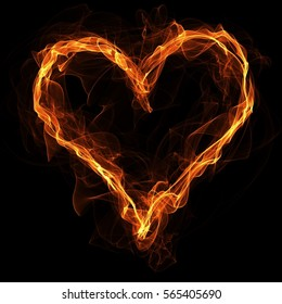 Fire heart on black background. Heart shape frame with copyspace in the center. Heart-shaped frame.