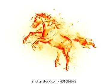 Fire horse. 3D illustration.
