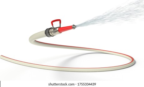 fire hose with modern nozzle squirting water. isolated on white background. 3d illustration, suitable for firefighter, fire and hose themes.
