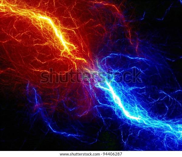 Diseño de rayo fractal abstracto de fuego y hielo