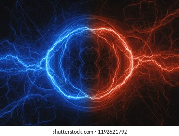 Fire and ice fractal lightning, abstract electrical background