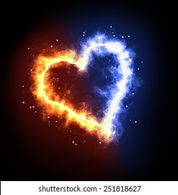 Fire ice heart on a black background