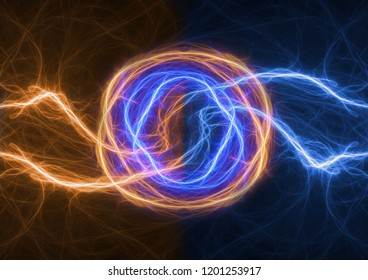 Fire and ice lightning, abstract plasma background