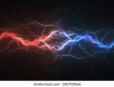 Feuer- und Eisplasma, abstrakter Blitzhintergrund