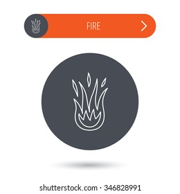 Fire icon. Hot flame sign. Gray flat circle button. Orange button with arrow.