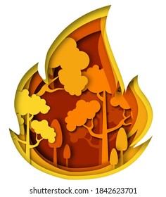 Fire illustration. in the style PAPER CUTOUT
