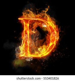 Fire letter D of burning flame. Flaming burn font or bonfire alphabet text with sizzling smoke and fiery or blazing shining heat effect. Incandescent hot red fire glow on black background