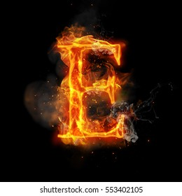 Fire letter E of burning flame. Flaming burn font or bonfire alphabet text with sizzling smoke and fiery or blazing shining heat effect. Incandescent hot red fire glow on black background