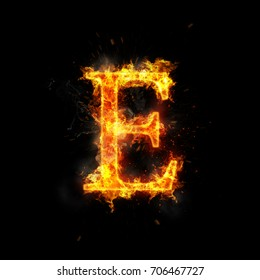 Fire letter E of burning flame.