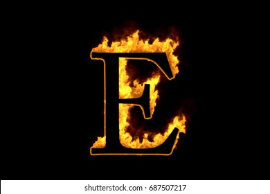 Fire letter E isolated on black background, 3d illustration