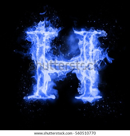Royalty Free Stock Illustration Of Fire Letter H Burning Blue Flame