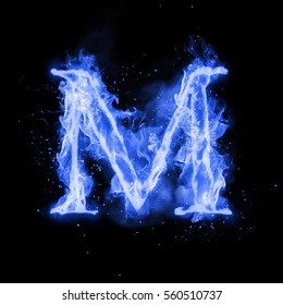 Fire letter M of burning blue flame. Flaming burn font or bonfire alphabet text with sizzling smoke and fiery or blazing shining heat effect. Incandescent cold fire glow on black background