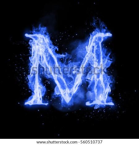 Fire Letter M Burning Blue Flame Stock Illustration 560510737