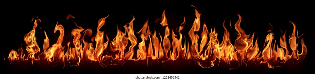Fire - the line of fire created by excellent flames on a horizontal surface - a large set of fiery elements on a black background