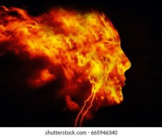fire man digital illustration
