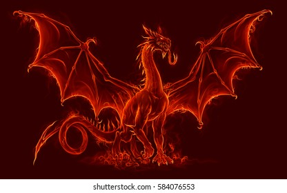 Fire medieval dragon