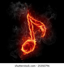 Fire note symbol - Series of fiery illustrations