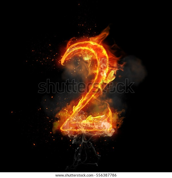 Fire Number 2 Two Burning Flame Stock Illustration 556387786