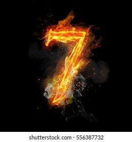 Fire number 7 seven of burning flame. Flaming burn font or bonfire alphabet text with sizzling smoke and fiery or blazing shining heat effect. Incandescent hot red fire glow on black background