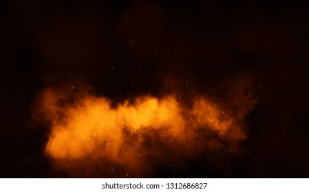 Fire particles debris isolated on black background for text or space . Film smoke effect.