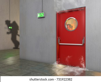 Fire prevention door, 3D Illustration