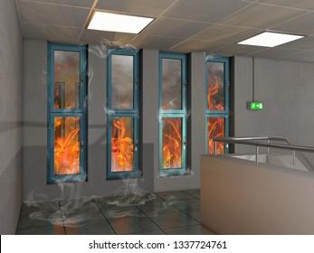 Fire prevention window, 3D Illustration