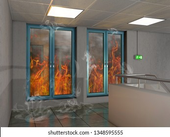 Fire prevention window, 3D Illustration