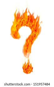 Fire question mark symbol on isolate