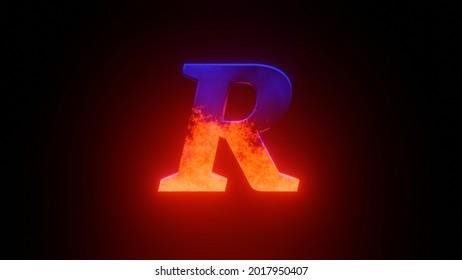 Fire R Letter on Black Background.
