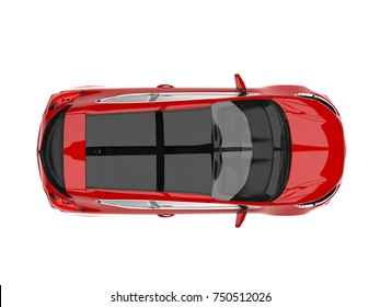 Fire red modern electric car - top down view - 3D Illustration