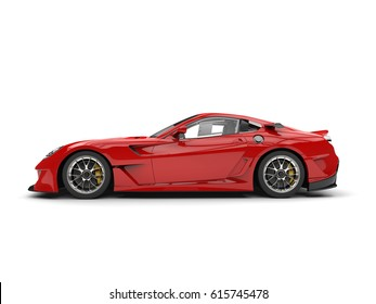 Fire red modern fast sports car - side view - 3D Render