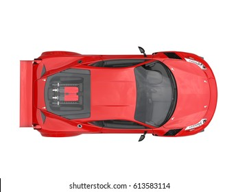 Fire red sports car - top view - 3D Render