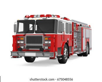 Fire Rescue Truck Isolated. 3D rendering