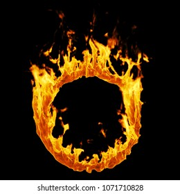 Fire ring on a black background. Flame illustration. High resolution.