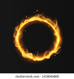 Fire ring. Realistic burning flame. Fiery circus circle hot hoop warm fire blazing effect red flaming isolated illustration
