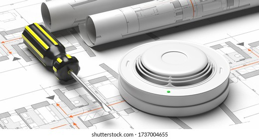 Fire safety system construction. Smoke detector on blueprint drawing background. Fire protection,  emergency evacuation plan . 3d illustration