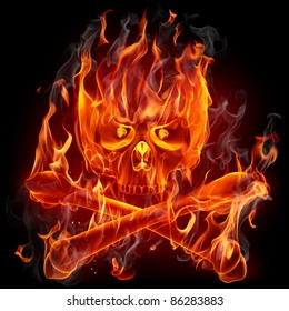 Fire skull and bones