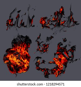 Fire and smoke on gray background