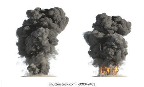 fire and smoke on white background 3d illustration