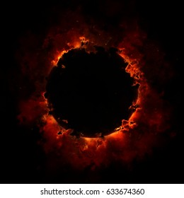 Fire And Smoke Ring Isolated On Black Background