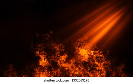 Fire spotlight with smoke on the floor . Misty background.