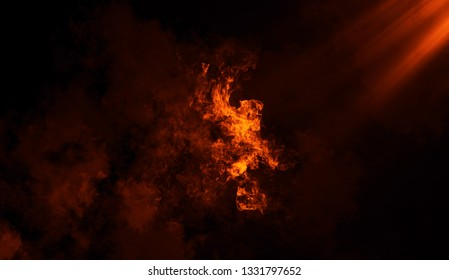 Fire spotlight with smoke texture overlays on islotaed background. Misty background effect