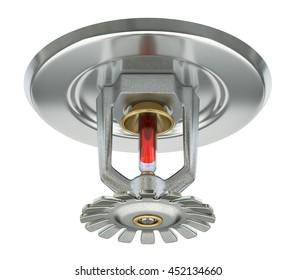 Fire sprinkler with vakuum sealed glass tube isolated on white background - 3D illustration