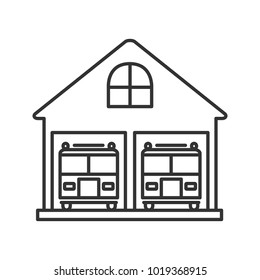 Fire station linear icon. Firehouse. Thin line illustration. Garage with two fire trucks. Contour symbol. Raster isolated outline drawing