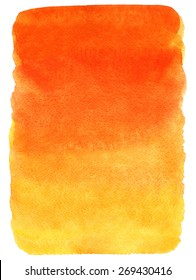 Fire or sunset colors watercolor background. Red, orange, yellow gradient fill. Hand drawn texture. Raster version.