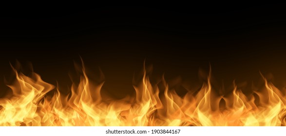 Fire texture on a black background. Fire explosion for banner background.
