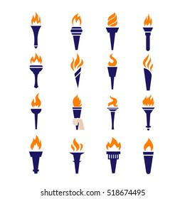 Fire torch victory championship flame flat icons. Set of torch symbols