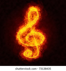 Fire treble clef.  Flame musical note symbol on black background