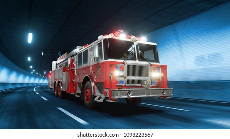 Fire Truck rides trough tunnel with cold blue light style 3d rendering